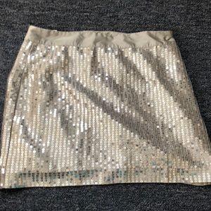 Gap sequin silver mini skirt 10 NWT